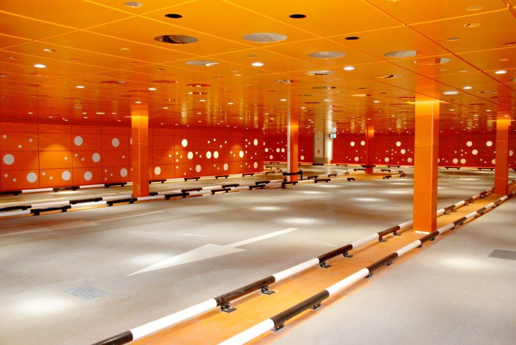 Golv parkeringshus polyuretangolv Mall of Scandinavia